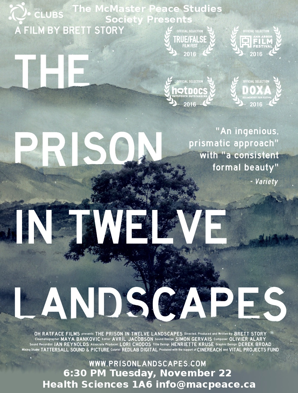 """A tree in background with title The Prison in Twelve Landscapes"""""""