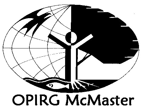 "OPIRG Logo - black and white earth with a fish, bird, tree, roots, and a human figure with arms outstretched and the text ""OPIRG McMaster"""