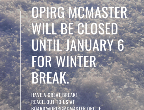 OPIRG McMaster closed until January 6 for winter break