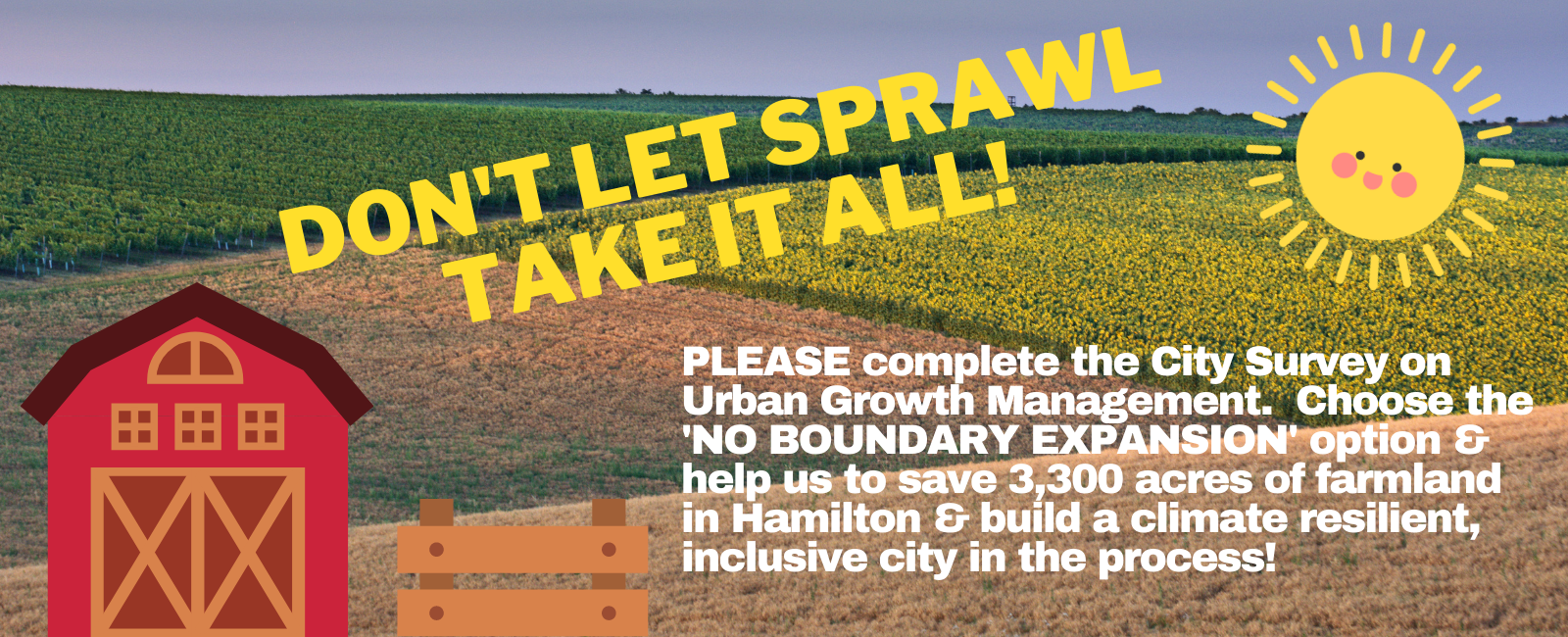 Don't Let Sprawl Take It All poster showing farmland and a graphic representation of a barn and sunshine